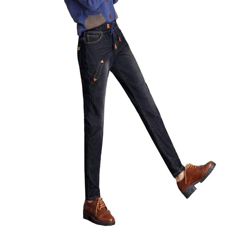 Invierno Jeans elasticidad de Cachemira Pantalones mujer Push Up Jean  Taille alta cordón negro vaqueros espesar Pantalones de harén en Pantalones  vaqueros ... 25e4bf59204b
