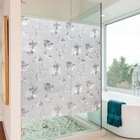 120cm Wide Custom Size Glass film stained glass Hibiscus flower Frosted Window Film Static Cling Privacy Raamfolie 8m