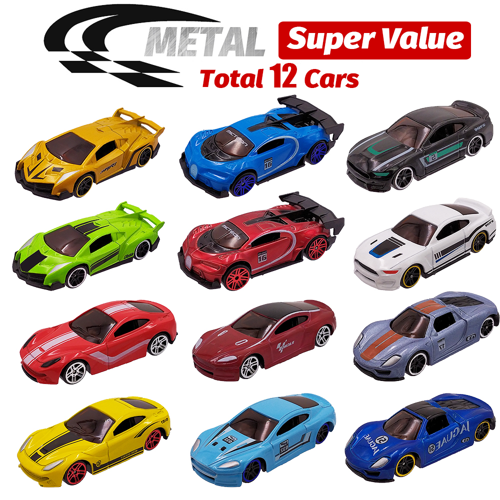 12 Metal Toy Cars 12in1 Super Value Alloy <font><b>Diecast</b></font> Toy Vehicles Model Truck Race Car Play Set 12 Mini Cars for Boys Gift for Kids image