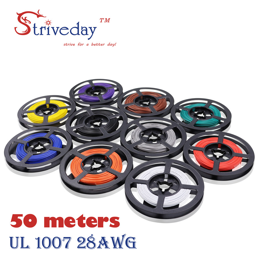 Striveday 50Meters 28AWG Cable 10 Colors UL1007 Environmental ...
