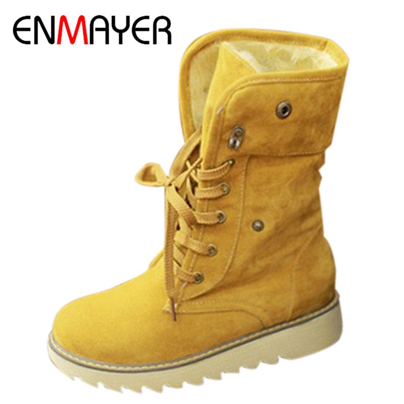 ENMAYER Women Winter Boots Short Snow Boots Thick Cotton-padded Solid Casual Flat Heel Lace-up Shoes Women Large Plus Size 34-43 enmayer hot new fashion round toe lace up flat ankle snow boots for women winter boots shoes large size 34 43 platform shoes