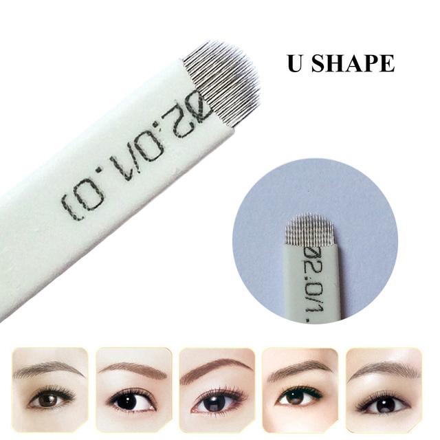 US $12.19 39% OFF|50PCS U Shape Microblading Blade Eyebrow Tattoo For  Permanent Makeup Manual 3D Eyebrow Embroidery 18 Needles White-in Tattoo  Needles ...