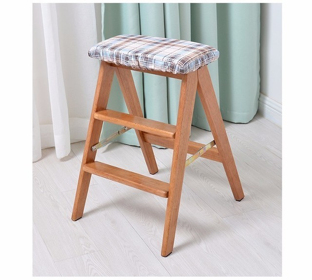 kid garden stool foldable Ladder house bedroom wood stool free shipping white color