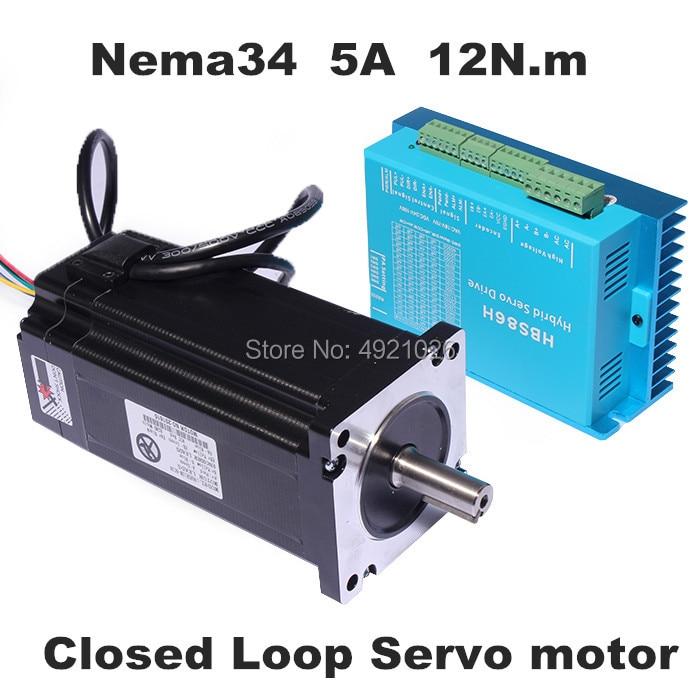 Nema 34 moteur pas à pas pilote Servo moteur 86HSE12N + HBS86H moteur pas à pas en boucle fermée 12NM Nema34 86 hybride en boucle fermée 2 phases