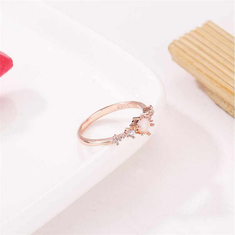 a724939645 ... Elegant Rainbow Opal Ring Fashion White CZ Wedding Jewelry Rose Gold  Filled Engagement Promise Rings for ...