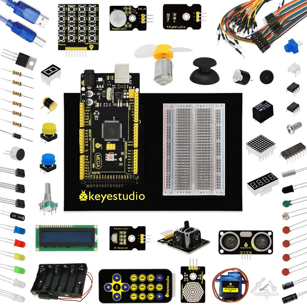 Keyestudio обновлен чайник Starter Kit для Arduinos Starter Kit + MEGA 2560 R3 + 1602LCD + шасси + PDF + 35 проект + видео