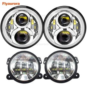 7-inch round LED headlight + 30W LED fog light for Lada 4x4 urban Niva for Jeep Wrangler JK Hummer off-road vehicle cover VAZ
