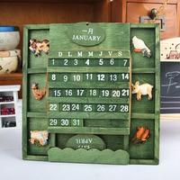Wooden Decoration Calendar Board Quiz Puzzles DIY Dates Permanent Calendar Creative Home Office School Classroom Stationery
