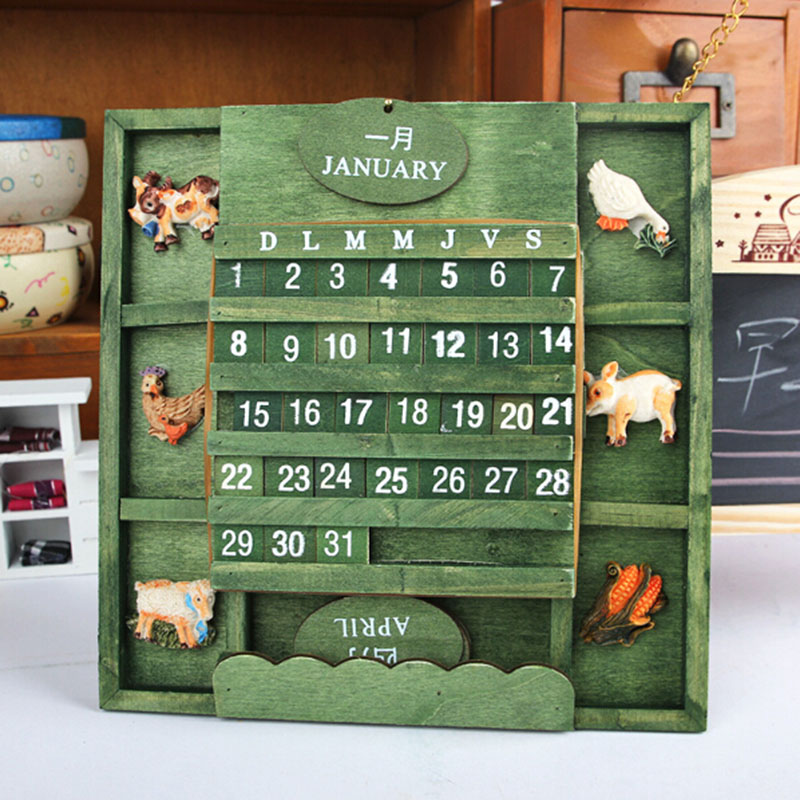 Wooden Decoration Calendar Board Quiz Puzzles DIY Dates Permanent Calendar Creative Home Office School Classroom Stationery Gift