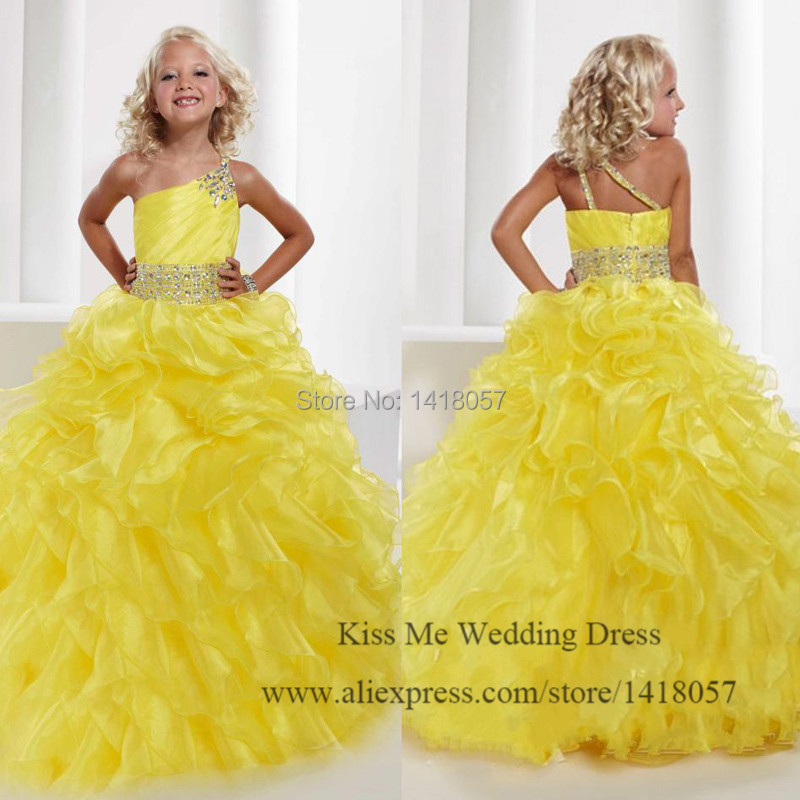 Luxury Yellow Organza Ball Gown   Flower     Girl     Dresses   2015 Junior Bridesmaid   Dress   for   Girls   Pageant   Dresses   Communion Vestidos
