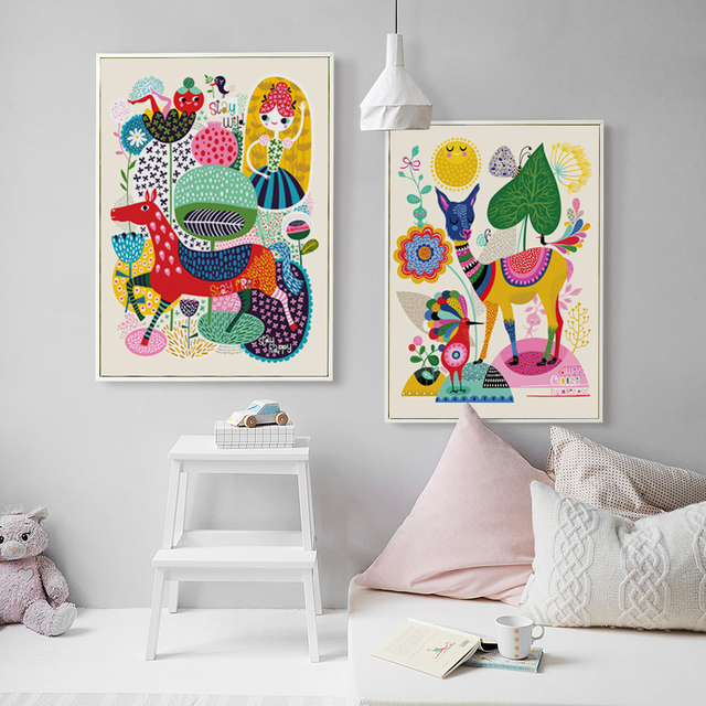 Elegant Poetry Simple Cartoon Animals Colorful World Canvas  1