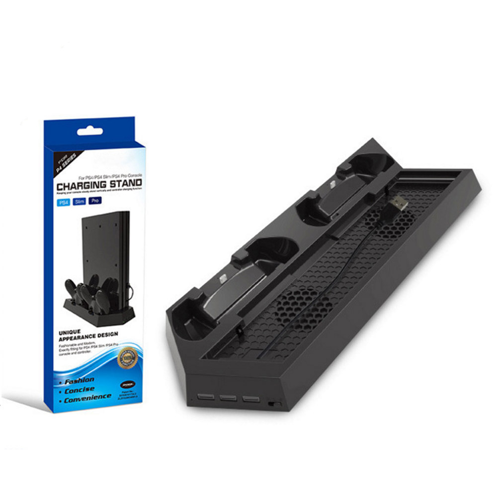For PS4/PS4 Pro/PS4 Slim Dual Controller Charging Station with Cooling Fan for Sony Playstation 4 Dualshock 4 Pro Game Console