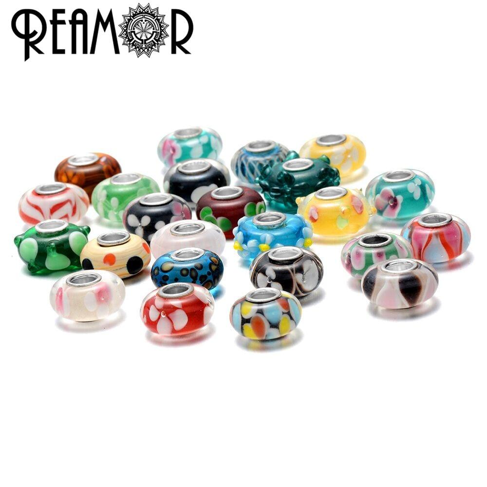 REAMOR 5pcs Blue Sea World Lampwork Bead Murano Glass Beads Charms Fit DIY Bracelets Bangles Women Jewelry Making Wholesale