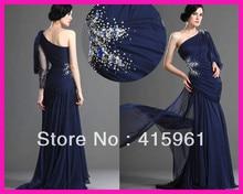 2014 Navy Blue One Shoulder Pleated Chiffon Beaded Women Formal Prom Evening Dress E3994