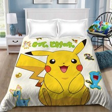1pcs bed sheet Pokemon pikachu Sheet Anime Cartoon Children Room Bed Linen (NO cover pillowcase)