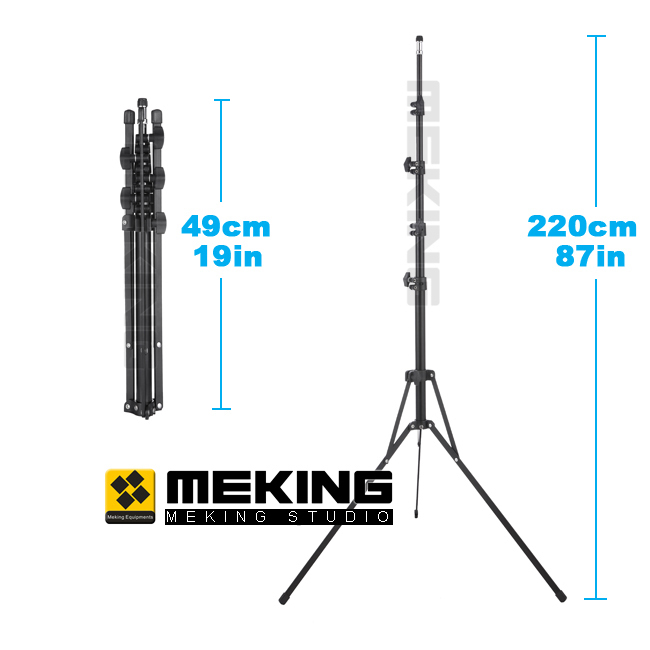 Meking Collapsible 220cm/7'2 Flash Light Stand L 2000 Lamp Tripod for Workshop Studio Video Lighting 5 sections Max Loading 3kg