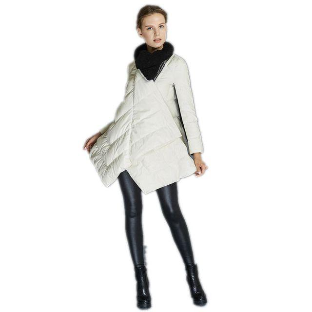 Moda Asymmetric Longo das Mulheres Jaqueta Grossa Para Baixo Casaco de Inverno 2017 Nova Mulheres Casacos Soltos Sólidos Feminino Parka Jaquetas Senhoras Y986
