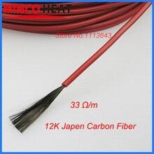 Инфракрасный, проходящий под полом нагревательный кабель системы 220 в 230 В 3 мм 12 к 33 Ом углеродное волокно пол крыши Электрический провод горячей линии 50 м