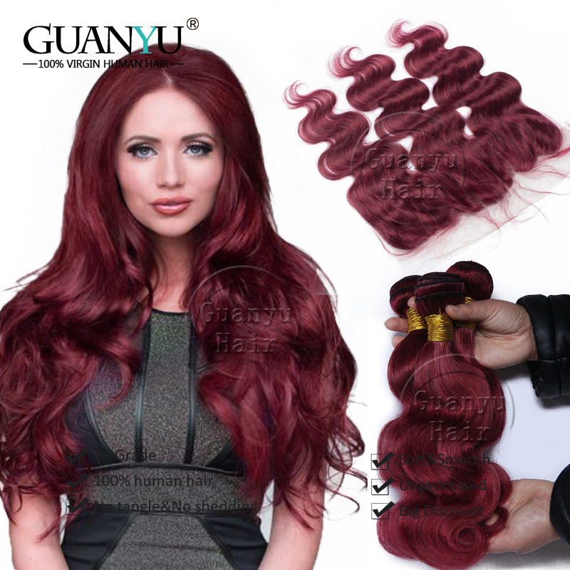 7A Malaysian Virgin Hair Weave 3 Bundles Body Wave With Ear to Ear 13x4 Lace Frontal Closure Burgundy Colour Natural Hairline