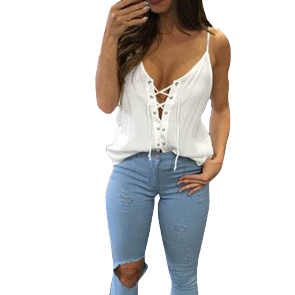 Women Fashion Solid Color Cotton T-shirts Sexy Women V-neck Bandage Front Strappy Vest Summer T-shirts Free Shipping D4