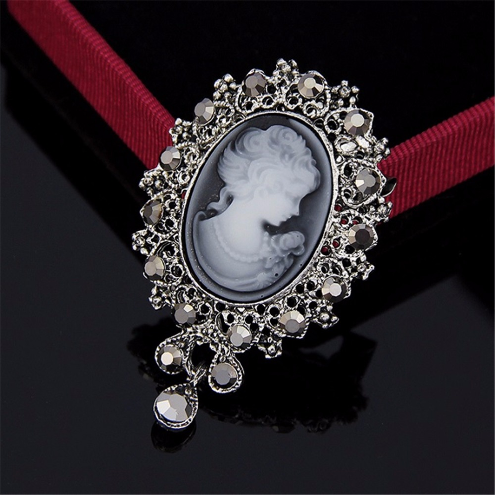 Victorian Brooch Vintage Cameo Acrylic Cameo With Rhinestone Necklace Convertible Brooch And Pendant