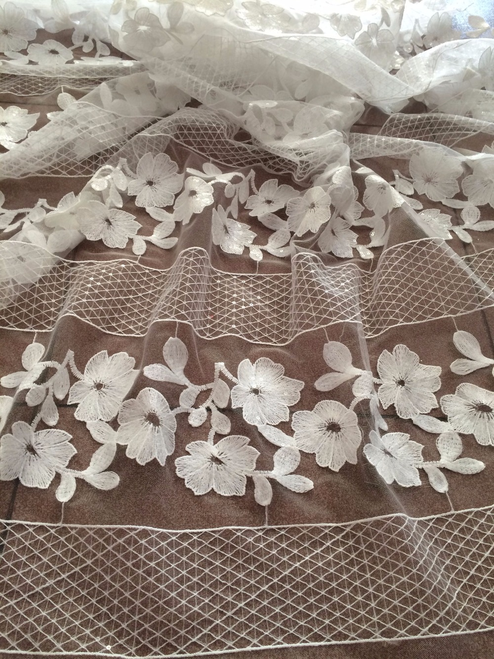 5 yards/lot french net lace fabric with sequins top quality tulle guipure lace fabric CiCi 91226 in white-in Fabric from Home & Garden    1
