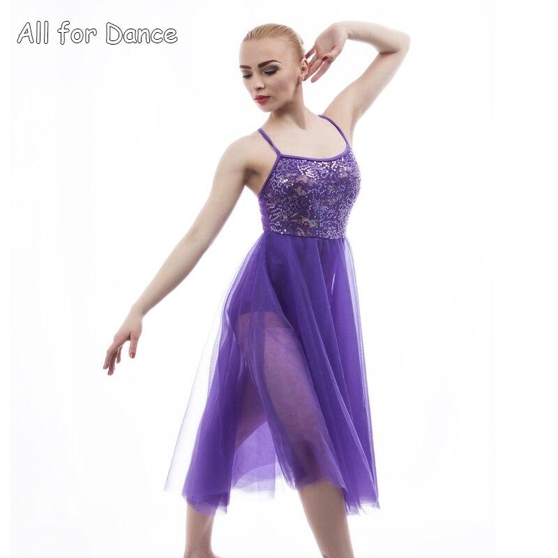 Mörklila paljettdansklänning för vuxen / tjej Ballettsteg Prestanda Samtida / Lyrisk ballettdansklänning Dans
