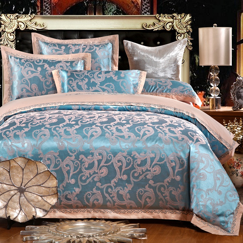 KELUO Luxury silk cotton Jacquard 4pcs silk bedding 100%cotton Embroidered including duvet cover bed sheet pillowcase SHFQ01KELUO Luxury silk cotton Jacquard 4pcs silk bedding 100%cotton Embroidered including duvet cover bed sheet pillowcase SHFQ01