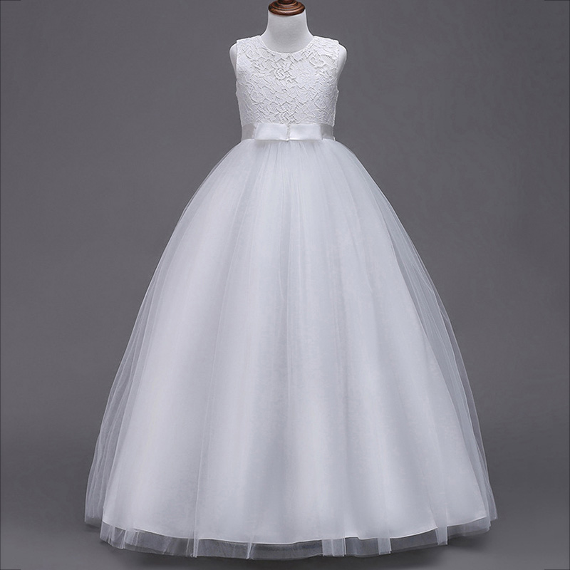 Evening long princess   dress   first communion   dress     girls     flower   wedding clothing kids ball gown baby fluffy elegant costume