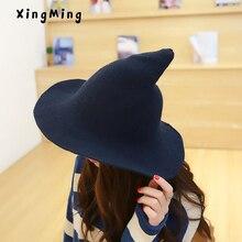 Женская Современная шляпа ведьмы, мужская шапка из овечьей шерсти, вязаная шапка рыбака, женская модная шапка ведьмы с острым носком