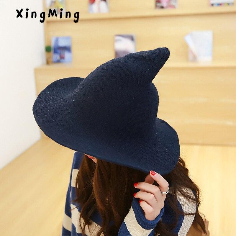 A lo largo de la gorra de lana de oveja que hace punto el sombrero del pescador qiu dong de moda femenina de la bruja de la cuenca del cubo accesorios del sombrero