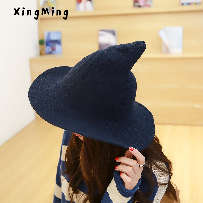 A lo largo de la lana de oveja cap tejer sombrero de pescador qiu dong moda femenina bruja en sombrero del cubo cuenca Accesorios