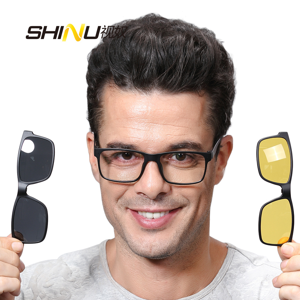 SHINU Magnetic Polarized Clip on Sunglasses with Optical Frame Prescription Myopia Len Night Vision Glasses Driving Dual Purpose