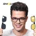 Shinu magnético len polarizada clip sobre óculos de sol com prescrição frame ótico miopia óculos de visão noturna óculos de condução dupla finalidade