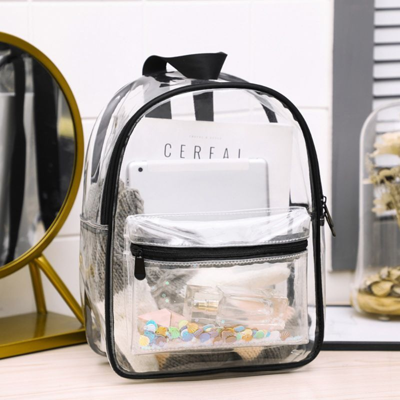 THINKTHENDO PVC Backpack Clear Travel Heavy-Duty Transparent School-Security Fashion