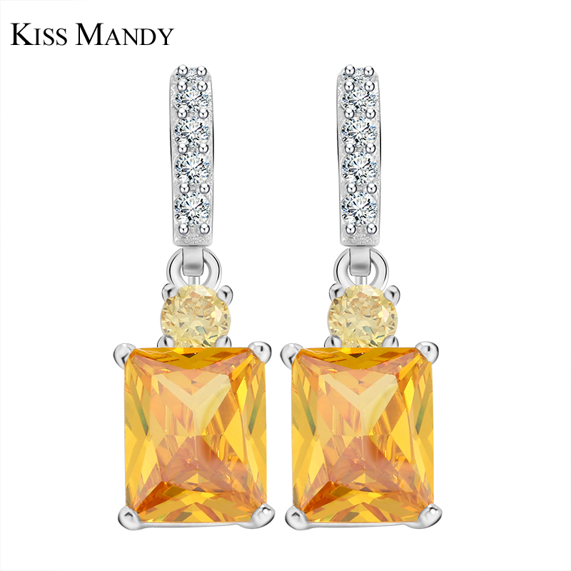 KISS MANDY Big Square Gul Cubic Zirconia Dangle Earring Til Kvinde Mode Koreansk Special Unique Smykker Tilbehør LE126