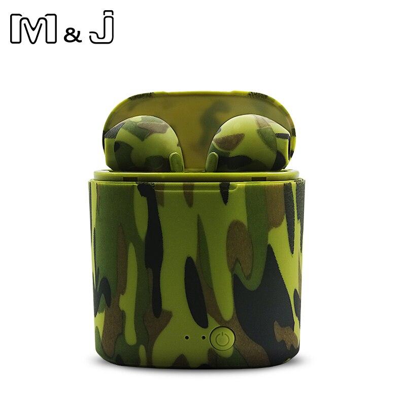 M & J I7S TWS camo auriculares Ture inalámbrica Bluetooth doble auriculares gemelos auriculares de música estéreo auriculares para todo Bluetooth móvil