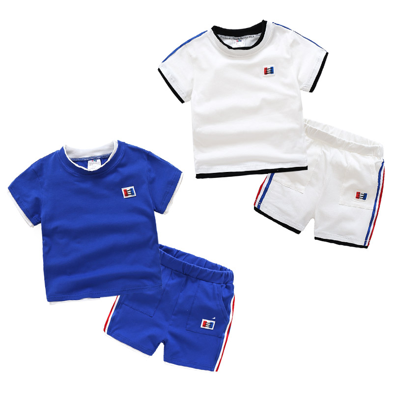 2018 Summer 3-12T Years Teenager Big Kids Handsome 100% Pure Cotton Boys T Shirt+ Shorts 2 Piece Sports Football Basketball Sets