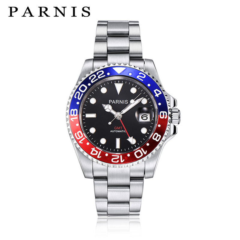 лучшая цена 40mm Parnis GMT Automatic Watch Men Full Stainless Steel Auto Mechanical Wrist Watches for Men Sapphire Red Blue Rotating Bezel