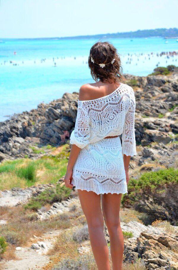 Bílé ženy letní sexy háčkování pletené bikiny zakrývají plážové šaty s opaskem