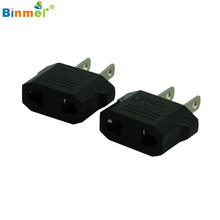 Binmer Superior Quality 2pcs European to American Outlet Plug Adapter EU to US Adapter Jun01