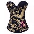 Мода Золото Phenix Pattern Черный Overbust Корсет Европа Corpete Женщины Бюстье Топы Хлопок Без Бретелек Корсеты Для Износа Клуба Партии