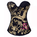 Fashion Gold Phenix Pattern Black Overbust Corset Europe Corpete Women Bustier Tops Cotton Strapless Corsets For Party Club Wear