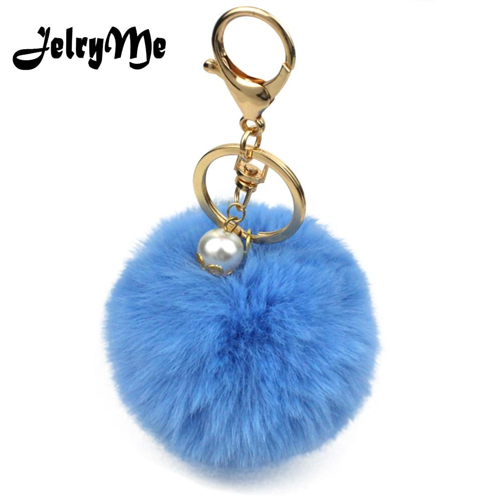 Fluffy Faux Fur Key Chain Key Ring Bunny Ball Pearl Bag Accessories Fluffy Hot