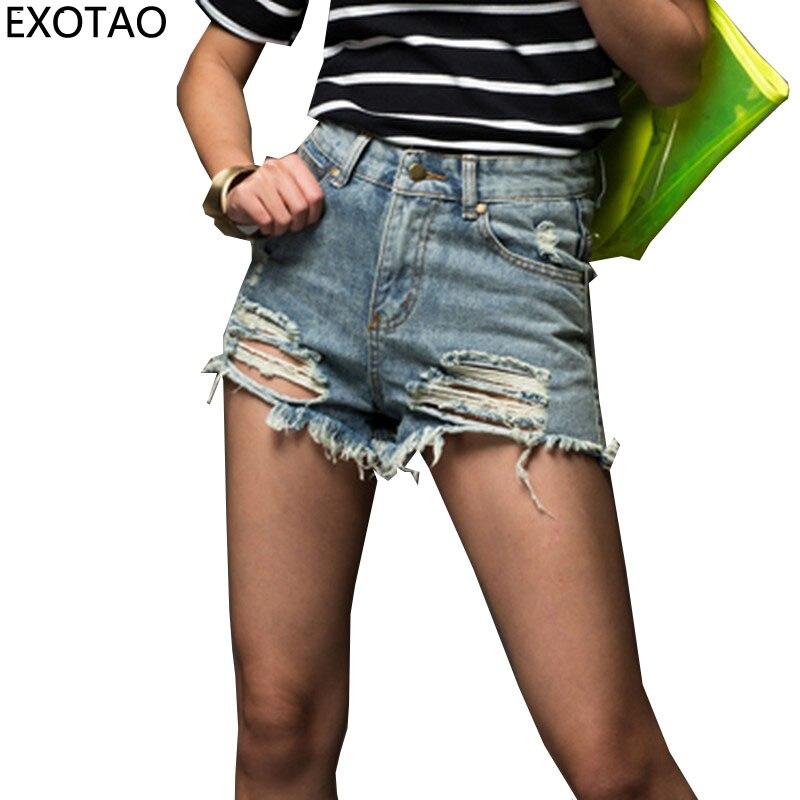 Plus Size Fashion Short Jeans 2017 Summer Women High Waist Denim Shorts Frayed Hole Female Flash