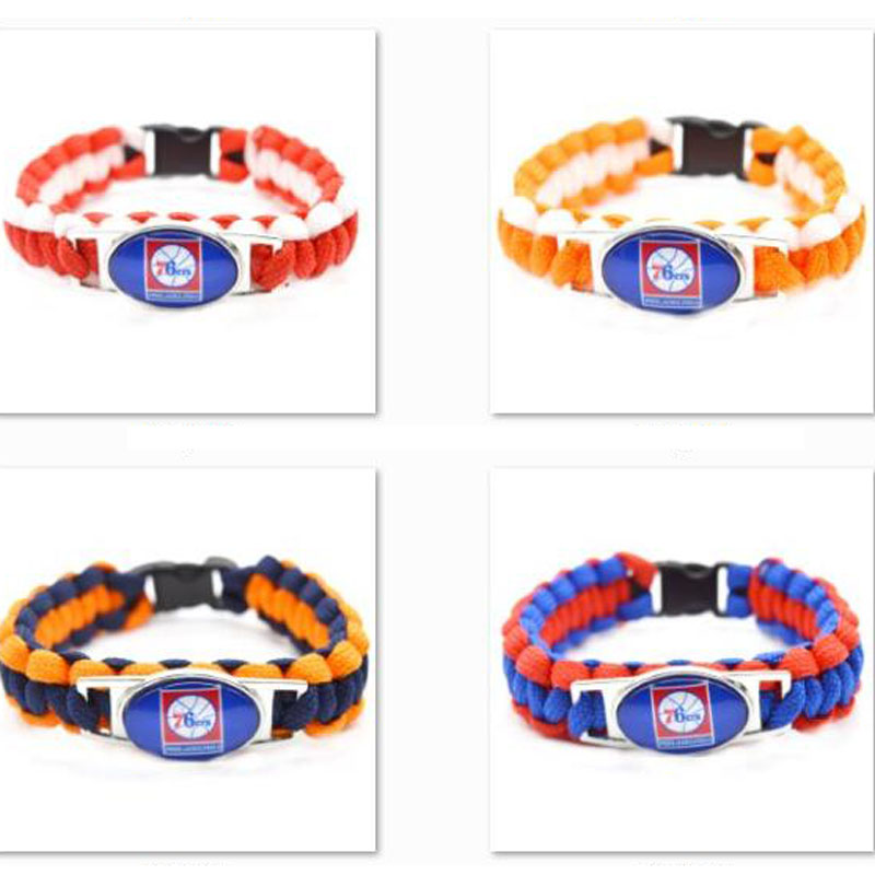 2018 New Basketball Bracelet Philadelphia Charm Braided Bracelet for Men Women Sport Bra ...