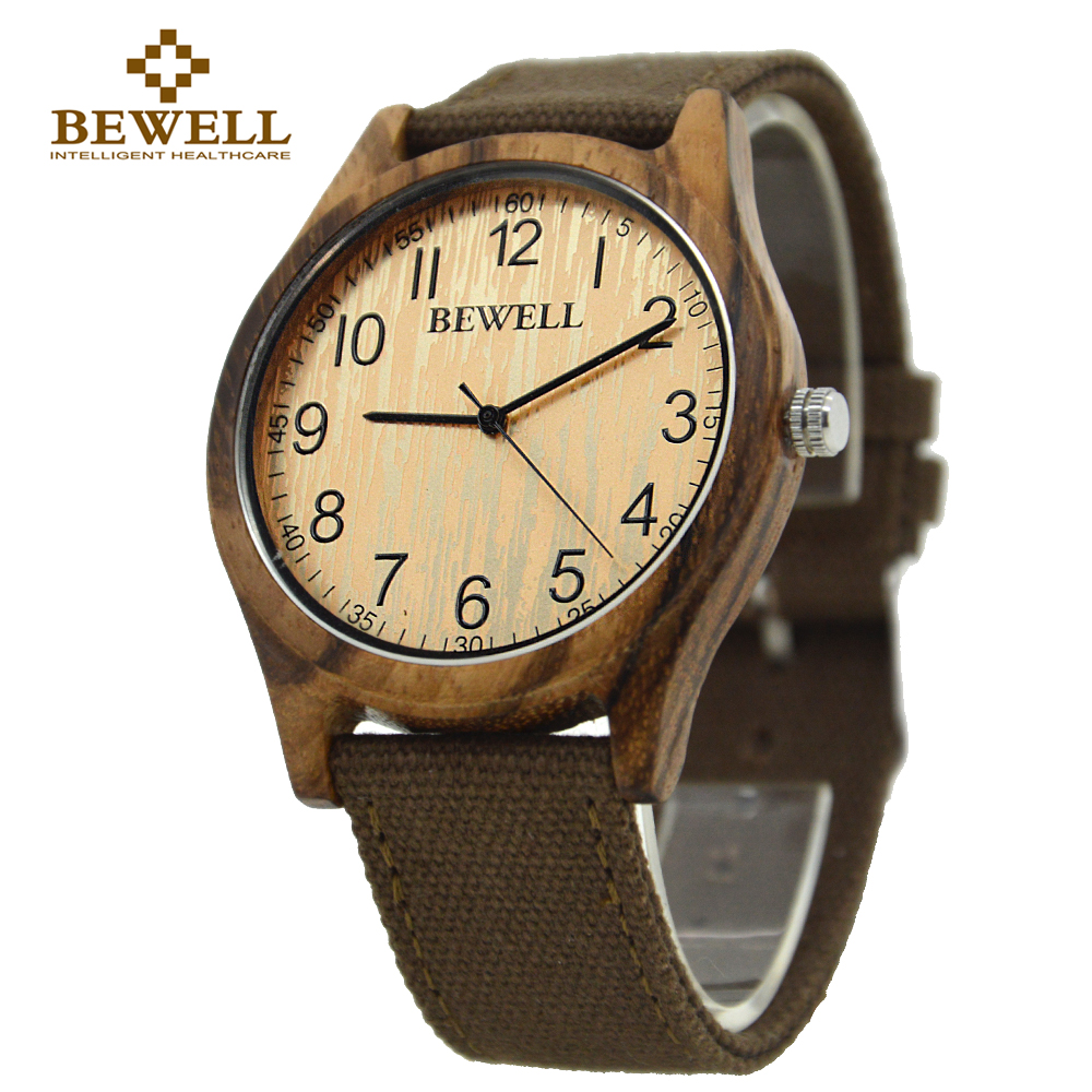 BEWELL 2017 New arrival Zebra Casual Natural Unisex Bamboo Wood Watch Men Women Canvas Band Super