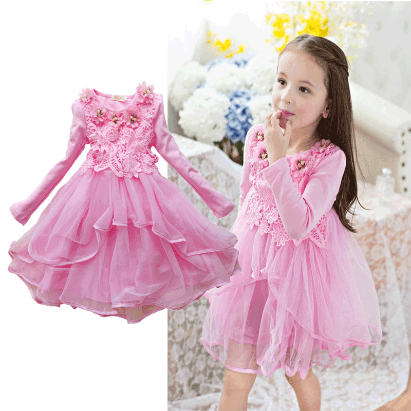 Baby Girls Dresses Autumn 2 4 6 8 10 12 Years flowers Long Sleeve Dress For Girls Clothes Cotton lace princess Children Clothing стоимость