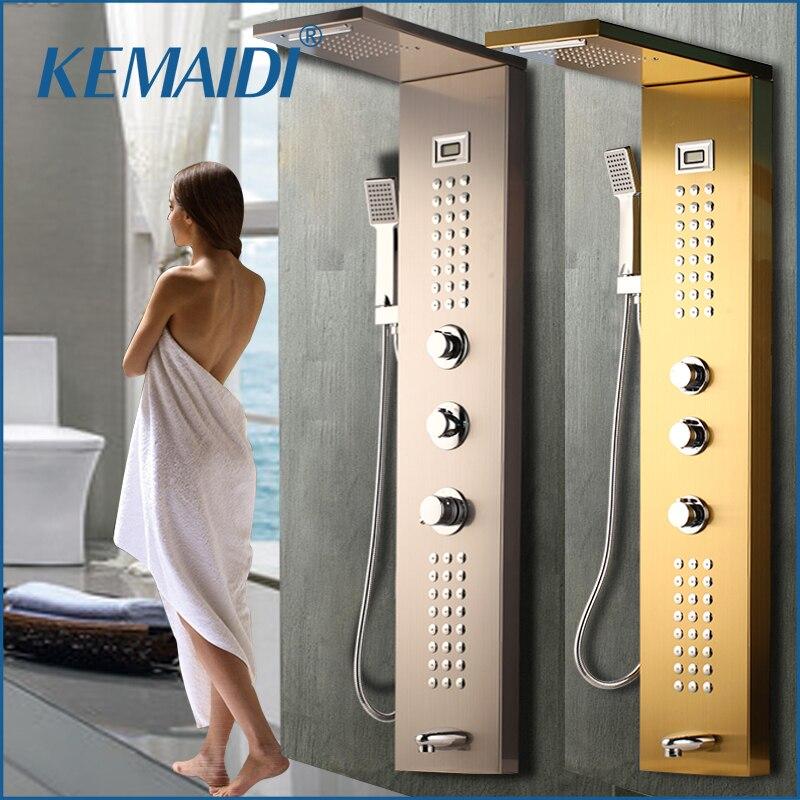 Kemaidi cachoeira 6pc jactos de massagem chuva chuveiro coluna mixer torneira do chuveiro torre com chuveiro de mão banheira bico painel do chuveiro preto