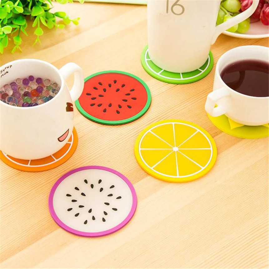 Happy Sale Fruit Coaster Colorful Silicone Cup Drinks Holder Mat Tableware Placemat drop shipping sep924